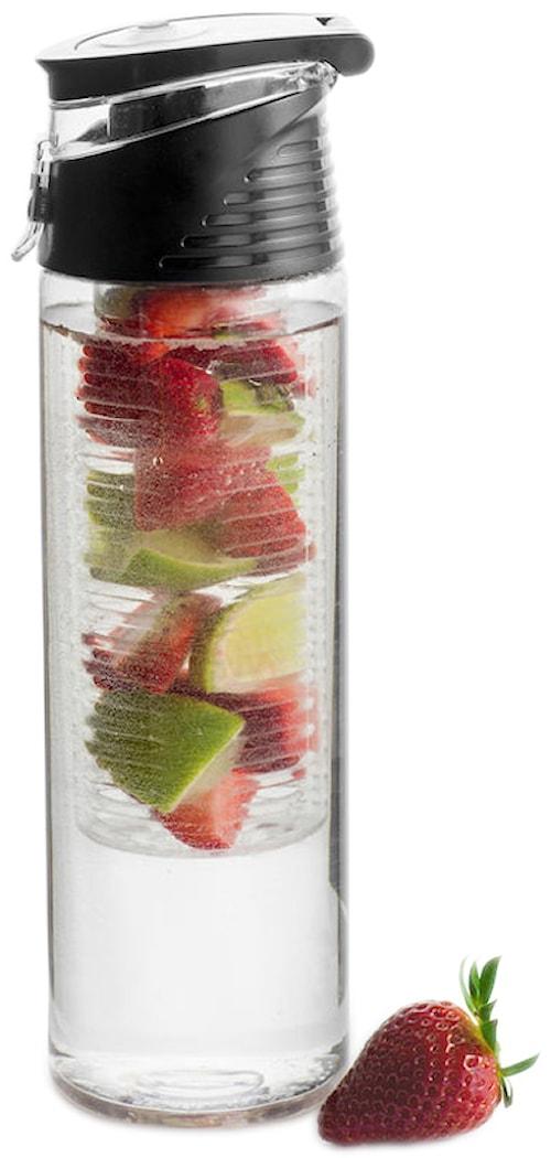Fresh flaske med frugtstempel, låsbar, sort