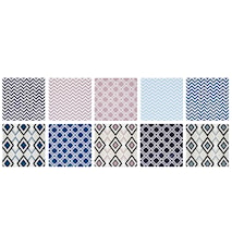 Lystallerken - m. grafisk mønster - Usorteret - Keramik - Multicolor - H 0,7cm - L 10,0cm - B 10,0cm - Stk.