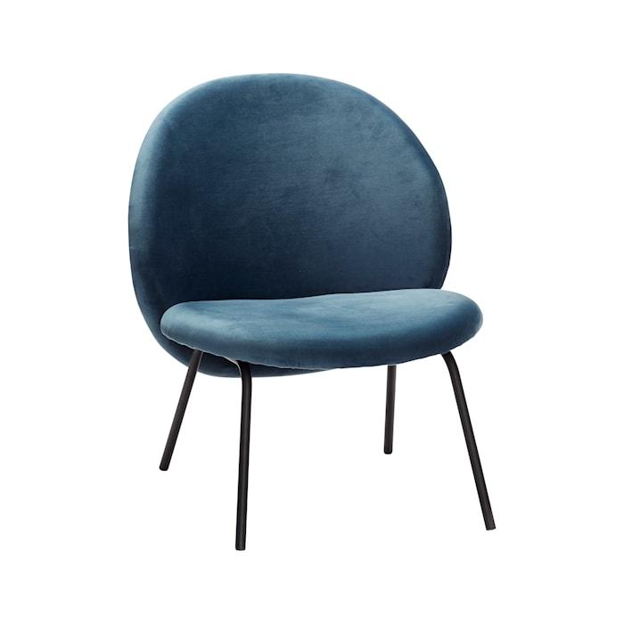 Loungestol sammet 67x55xh76 cm Svart/Blå