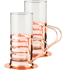 Irish Coffe set 2-pack rostfritt kopparpläterad 4 delar glas bricka