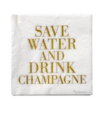 """Serviet Hvid/Guld """"Drink Champagne"""" Papir 33x33cm 20-pak"""