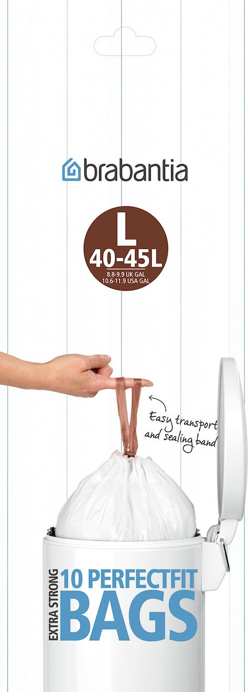 Avfallspåsar L, 45Ltr [10 påsar/rulle] White