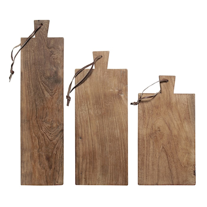 Skärbräda Trä Set av 3 Återvunnen Teak