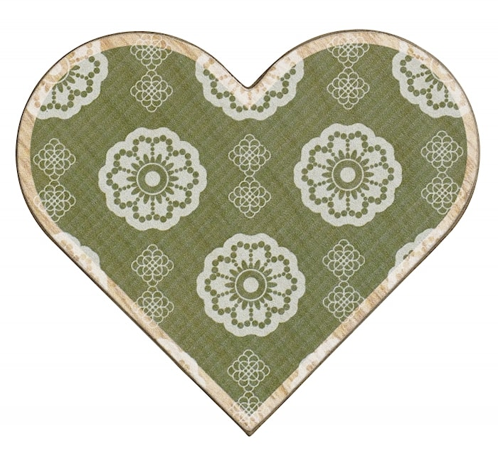 WOOD Hjärta Julkort Grön