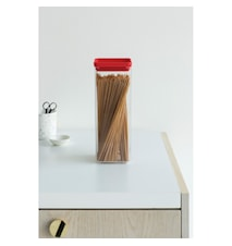 Fyrkantig förvaringsburk 2,5 L Transparant / Rött lock