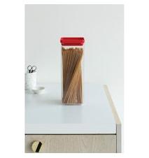Firkantet Oppbevaringsboks 2,5 L Transparant / Rødt lokk