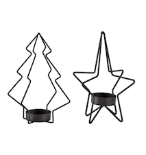 Ljushållare Metall Svart 2 st 15x9,5 cm