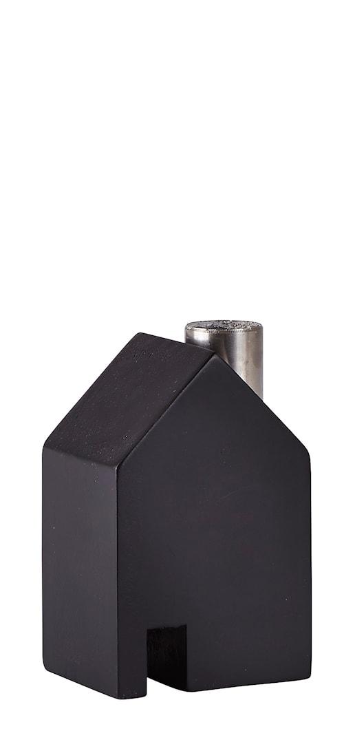 Figur Hus Metall/Svart 10 cm