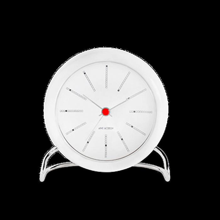 Arne Jacobsen Bankers bordsur, hvit/hvit, Ø 11 cm, alarmfunksjon