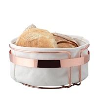 Brödkorg rund kopparpläterad vit tyg diameter 22 cm