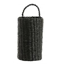 Basket, round, w.handle, black