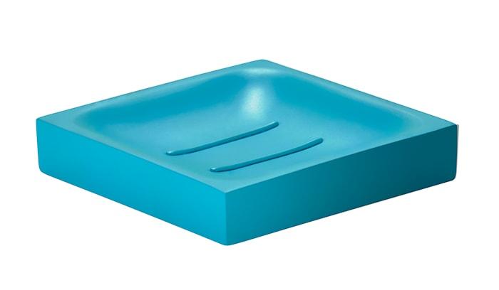 Sæbeskål - Turkis - Stk. - Confetti Square - Polyresin - Mat - H 2,0cm - L 10,5cm - B 10,5cm - Gaveæske - firkantet