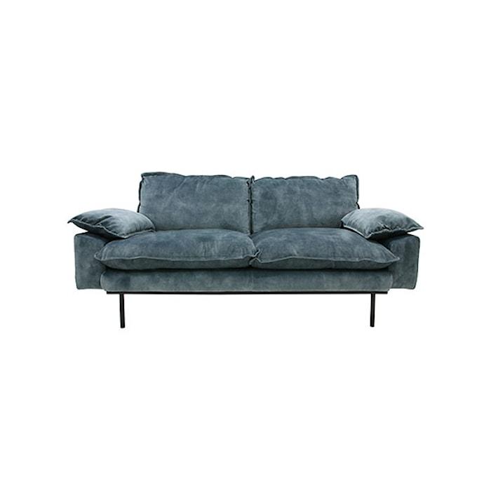 Retro Sofa Fløjl 2-pers Blå
