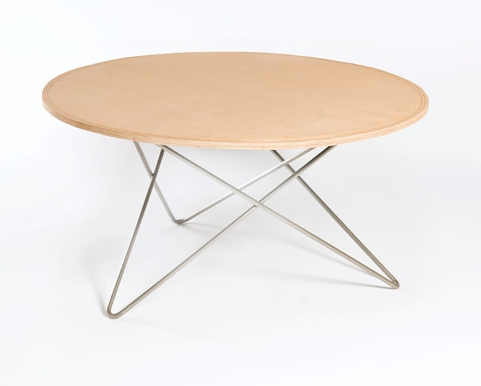 O-table leather sofabord – Nature/stainless
