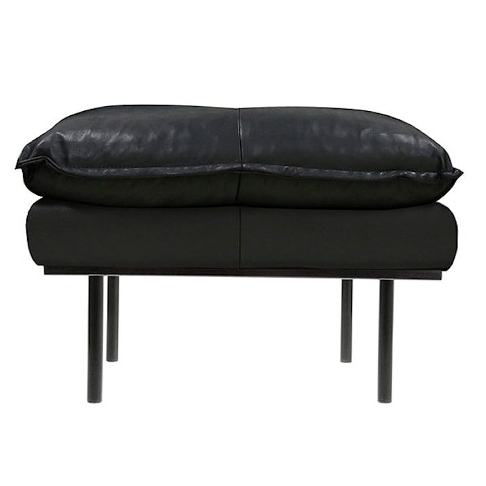Retro Sofa Læder Hocker Sort