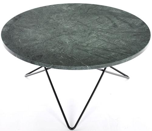 Large O table - Grön marmor, svart underrede