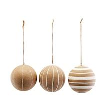 Ornament, Craft, White, Asstd. 3 designs, 3 pcs/pack ,dia: 10 cm