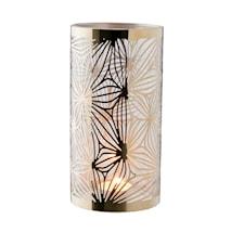 Lykta mässing med glasrör mönster höjd 20 cm