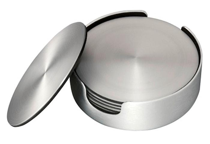 Glasunderlägg 6 pack borstad aluminium