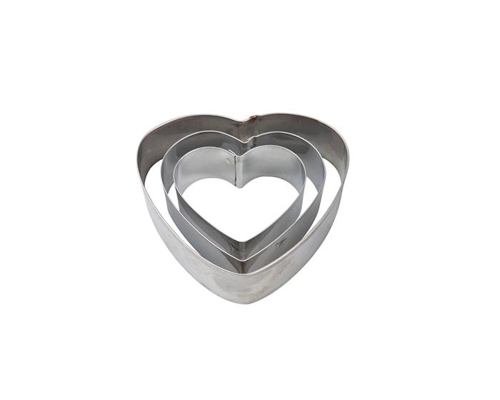 Pepperkakeform 3stk Stål, Hjerte