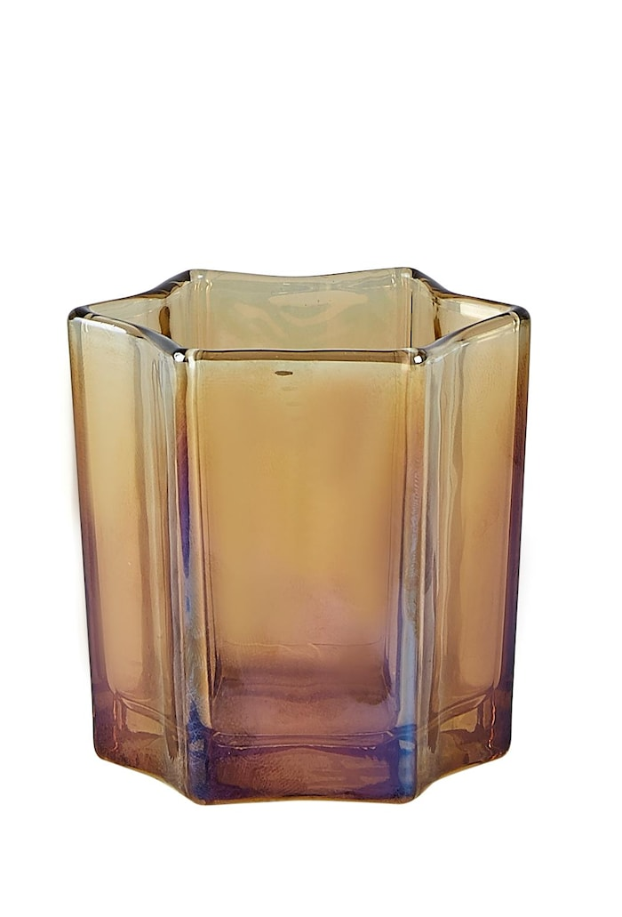 Värmeljushållare Glas Amber 7,5x7,5x7,5cm