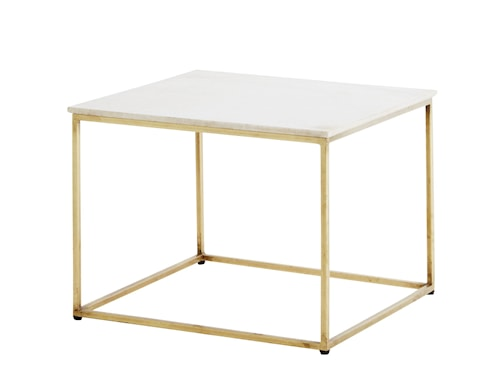 Coffee Table, White marble/brass