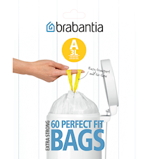 Rubbish bags A 3L [Dispenser Pack with 60 bags] White