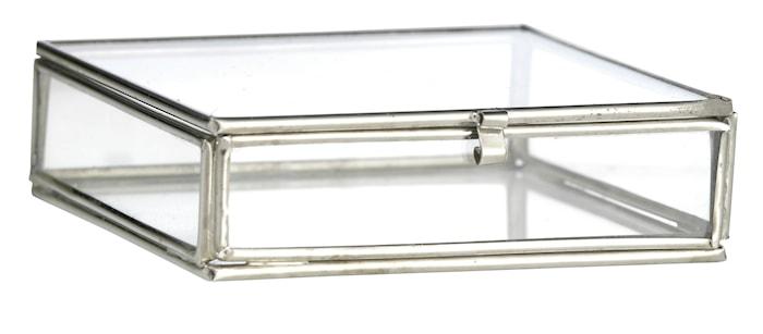 Kvadratisk skrin 10,5x10,5x3,5 cm - Sølv