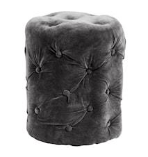 Puff i fløyel Ø 40 cm - Mørkegrå