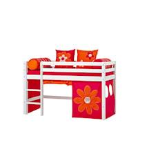 Basic loftsäng halvhög – Flower power sängpaket