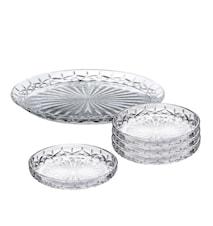 Harvey Dessert-Set 5 St Delar 1 St Fat 32 cm + 4 St Glass Assietter 16 cm