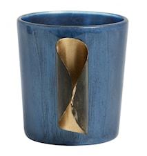Värmeljushållare Glas & Gyllene Metall Blå