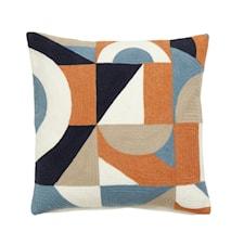 GEOMETRIC Kuddfodral Bomull Orange/Blå 50x50cm