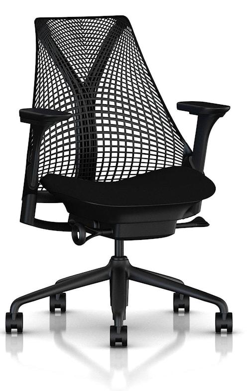 Sayl kontorsstol - Klädd sits / nätrygg - Svart