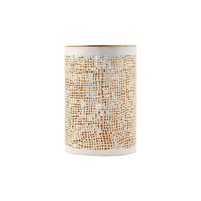 Ljuslykta Ø 8x12 cm Vit/guld