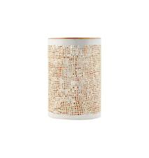 Hessian lysestake white/gold h12 cm