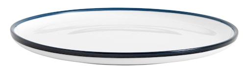 Assiett Blue Rim Ø 20 cm - Hvit/Blå