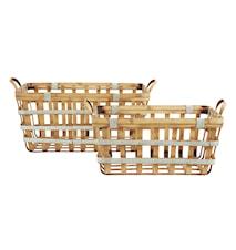 Wood/metal basket, rectangle, s/2