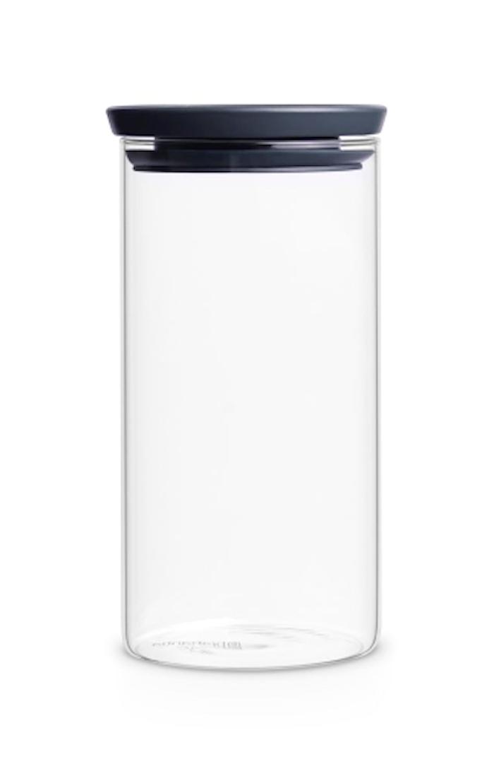 Glasbeholder Stabelbar 1.1 Ltr Glas/Gråt låg