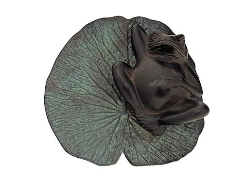 Groda liggande på näckrosblad 21cm Brun