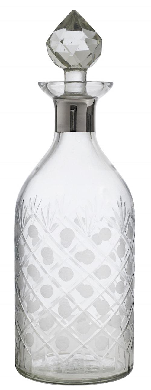 Glass decanter, round, platinum, diamond