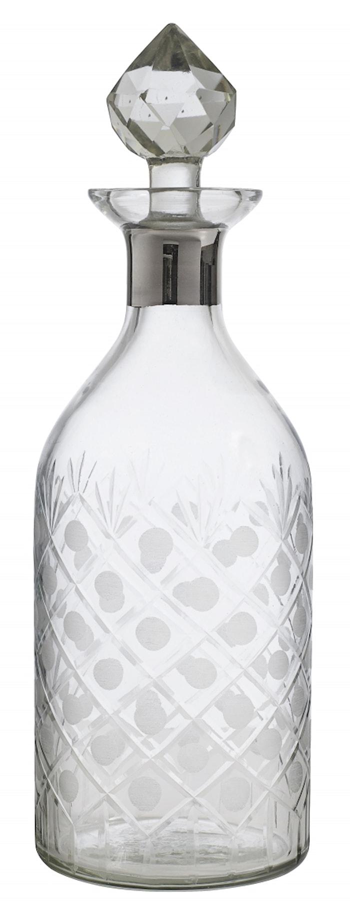 Glas decanter, rund, platinum, diamond