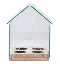 Fyrfadsstage - Hus - Glas - Træ - Klar - Natur - H 19,0cm - L 16,0cm - B 14,0cm - Stk.