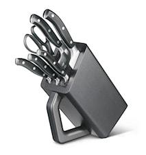 Knivblok, 6 del, smedeta, Grand Mitre