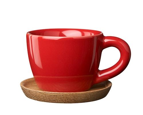 HK Espressokop 10 cl æblerød blank med træunderkop
