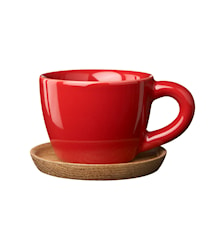 Espressokopp med träfat 10 cl äppelröd blank