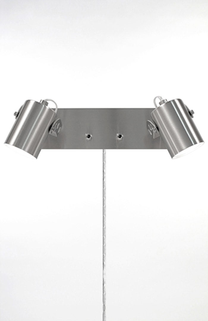 Vägglampa Leo 2 Borstad Stål