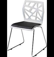 Funky stol – Hvit/krom