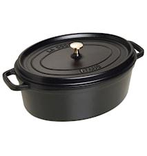 Oval gryta 37 cm svart 8 L