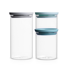 Jar Stackable Set of 3 (0.3, 0.7 and 1.1 Ltr) Glass / Lid: grey, dark grey and Mint